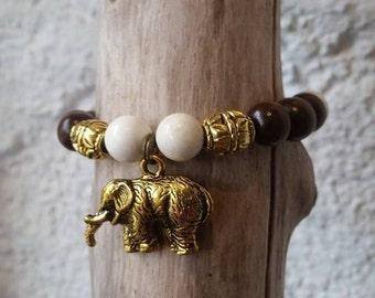 Boho Howlite bracelet / wood