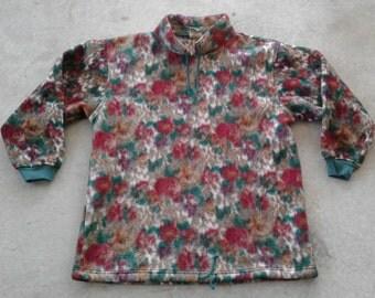 Killer Vintage 80's / 90's Polar Fleece Made by Lady Footlocker Pullover Floral Pattern Pattern Sweatshirt L