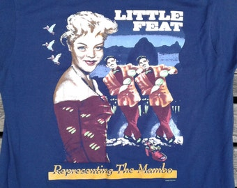 "Vintage 1990 Little Feat ""Representing the Mambo"" navy blue rock t-shirt XL Made in USA by Screen Stars"