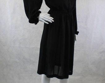 1980's Black Sheer Long Sleeve Ruffly Top | Elastic Waist | Size Medium 8-10 | Made in the USA by California Looks | Day Dress | Romantic