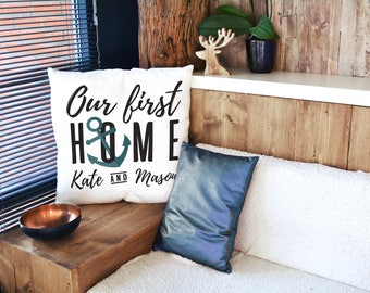 Housewarming Gift Personalized Pillow Case - Newlywed Gift -Our First Home Gift -Nautical Home Pillow Decor -Moving In Together Gift Present