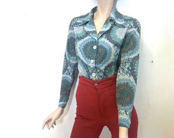 Psychedelic Acid Hippie 70s Disco Shirt