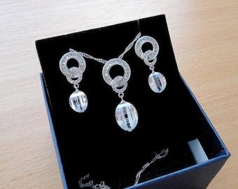 Wedding jewellery set bridal jewelry set crystal jewelry wedding set gift crystal wedding jewelry set bridesmaid set bridal set necklace cz