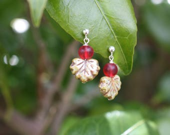 Red Berry and Leaf Earrings, Cranberry Tree Earrings, Sterling silver