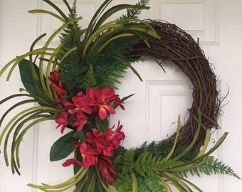 Tropical Wreath, Hawiian Wreath, Front Door Wreath