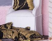Miniature Pillows (Black & Gold Marbled) -- Dollhouse Miniature 1:12 Scale