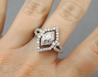 Stunning Custom Design 14kt White Gold .53ct Hexagon Diamond Ring - Hand Made, One Of A Kind! Designer Engagement Bridal Wedding #2403