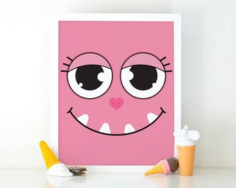 Pink Monster, Little Monster, Kids Wall Art, Monsters Print, Cute monster, Instant Download, Nursery Decor, printable art, monster Poster