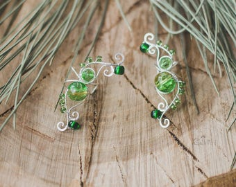 Fairy ear cuffs Green candy Saint Patrick's day Pair of fairy ear cuffs Fantasy ear cuffs Adjustable jewelry Silver ear cuffs Elven ears