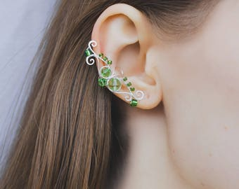 Pair of fairy ear cuffs Green crystals Saint Patrick's day Fantasy ear cuffs Adjustable jewelry Silver earcuffs Elven ears No piercing
