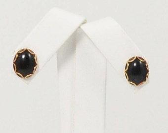 14k Yellow Gold Onyx Earrings(01077)