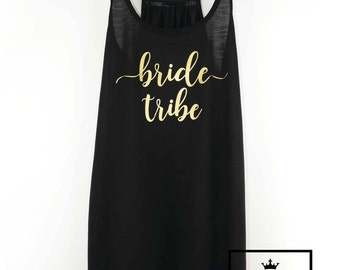 Bride Tribe Tank Top, Bachelorette Party Tank, Bride Tribe, Bride Party Shirt, Bride Gold Shirt, Bride's Friends Shirts, Braidsmaid