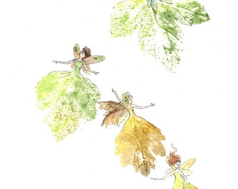 Falling Fairies - original watercolour fairy painting, with leaf prints