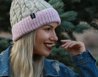 Knit Hat with fur Pom, Winter Beanies, Grey Knit Beanies, Pom Pom Hats for Women, Wool Beanie, Beanie Hat, Pom Pom Knit Hat, Beanie Hat