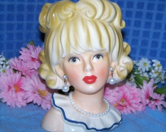 """Rare Blonde Enesco Doris Day Large 6"""" Head vase Teen Lady Headvase Rare Find with Perfect Everything!"""