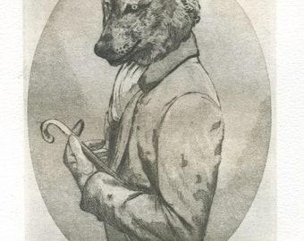 "Engraving ""Mr.Wolf""/Gentleman/Mr. wolf/wolf/printmaking/engraving/print art/beautiful/etching/art print """