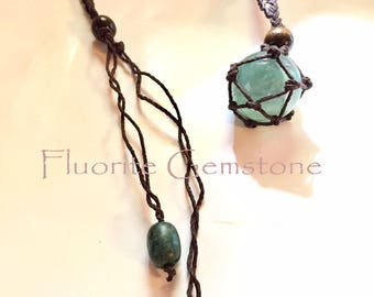 Fluorite Gemstone Hemp Infinity Pouch Necklace with Back Green Agate Dangles