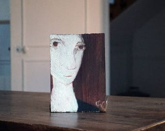 Painting on wood, decorative gift - white face