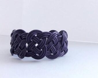 Braided leather bracelet, leather bracelet for women, woven bracelet, leather wrap bracelet, boho wrap bracelet, purple leather bracelet