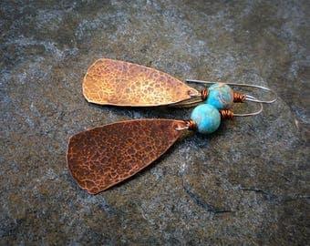 Hammered copper earrings, Imperial Jasper earrings, Long earrings, Boho earrings, Artisan earrings, Metalwork jewelry
