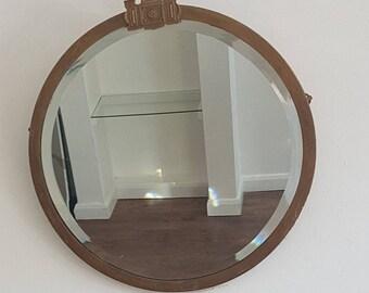 Metal Framed Round Bevelled Mirror Slightly Medieval