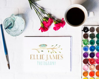 hand drawn logo, branch and nest watercolor logo design. hand painted logo, nature logo, watercolor logo, business logo, photography logo