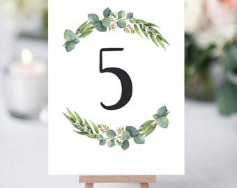 Table Numbers Wedding Printable Wedding Table Numbers Template Download Greenery Table Number Cards for Wedding Table Decorations Sign RE1