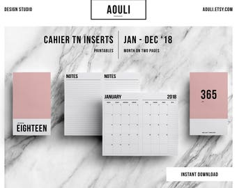 Cahier TN Insert | Cahier TN Size | Cahier TN Insert  Printable|Month on Two Pages | Travelers Notebook Insert | Printable Insert | MO2P