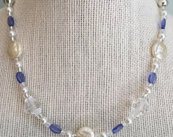 """Upcycled Jewelry -  """"Indigo Girl"""" Beaded Necklace - Made with Vintage and New Materials"""