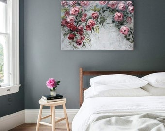 "Pink Gray Original Roses Flowers Floral Painting Wall Art / Floral Trend 2017 Climbing Roses / 24x36"" / Bedroom Living Room Decor"
