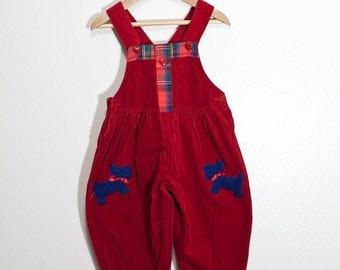 vintage corduroy overalls, scottie dog love overalls, vintage 18 24 mo overalls, scottie dog overalls, heart overalls, plaid overalls,