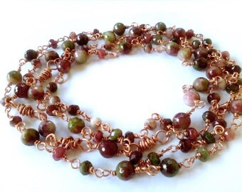 Copper and tourmaline wire technical necklace