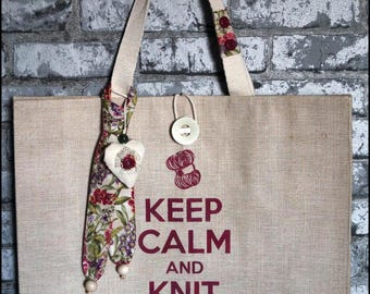"""Keep calm and knit something"" knitting bag"
