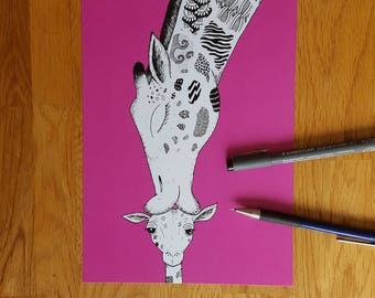 Giraffe picture | Limited Edition B6 print | Giraffe | Pink giraffe | Giraffe kissing baby