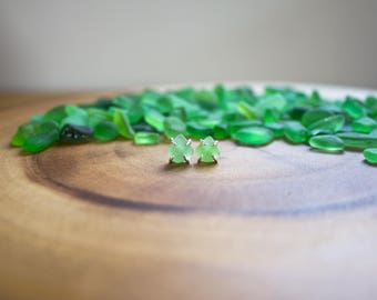 Foraged Beach Glass Studs - authentic beach glass - sterling silver - handmade - one of a kind