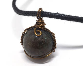 Labradorite - Marble Collection - Labradorite Stone - Wire Wrapped w/ 20ga Bronze Wire
