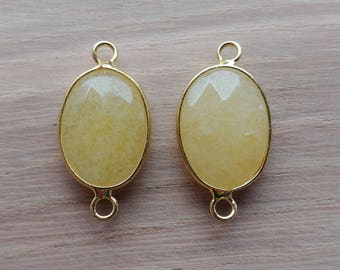 2 x Yellow and Gold Beveled Stone Pendant Connectors