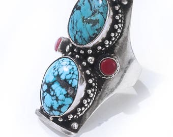 Vintage Turquoise and Coral Long Finger Ring Native American Jewelry