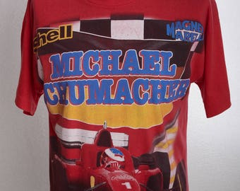 Vintage 90s MICHAEL SCHUMACHER Double Sided Print T-Shirt - 1st FERRARI-Year 1996 - F310 - 90er - Sz. M