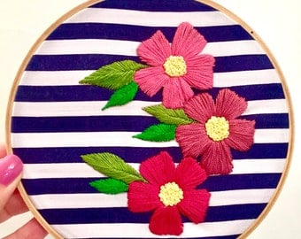 "Hand Embroidered flower hoop ""Brenda"""