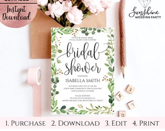 Green Leaves Bridal Shower Invitation Template, Script Font Printable 5x7 Bridal Shower Invitation, Editable PDF file Digital Download