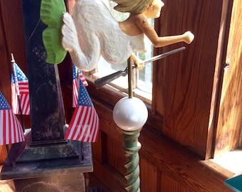 "Wood Carved ""White Mermaid Windvane"""