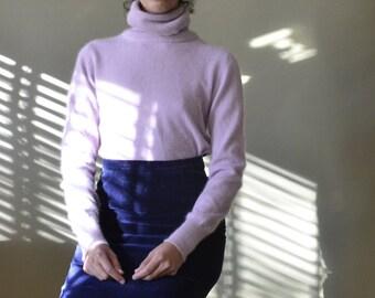 80s lambswool angora blend lavender turtleneck // xs-m