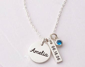 New Mom Necklace - Baby Name Necklace - Gift for New Mom - Kid's Name Necklace - Mom Birthstone Necklace - Baby Shower Gift - New Baby Gift