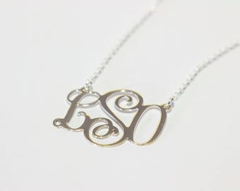 Monogram pendant etsy sterling silver monogram pendant monogram necklace monogrammed necklace vine monogram font necklace 3 letter monogram necklace aloadofball Gallery