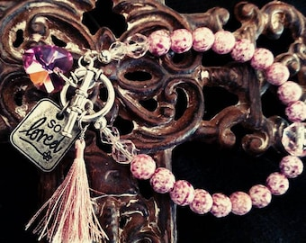 Vintage Pink Glass and Swirled Pink Charm Bracelet