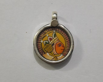 92.5 Sterling Silver Handmade Lord Hanuman Necklace Pendant, Covered By Silver And Glass, Lord Hanuman, Width 1.5 cm