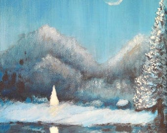 Solitude of Winter; 10 x 8 in; Acrylic on Canvas; Small Plein Air painting; Original Painting
