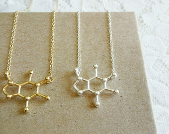 Caffeine necklace, Science molecule necklace, Gold molecule necklace, Silver caffeine necklace,Chemistry necklace,Coffee lovers gift jewerly