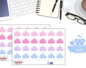 Chores Planner Stickers, Dog Bath Time Reminder Stickers, Wash The Dog Reminder Stickers, Doggy Sticker,  Cute Planner Accessories